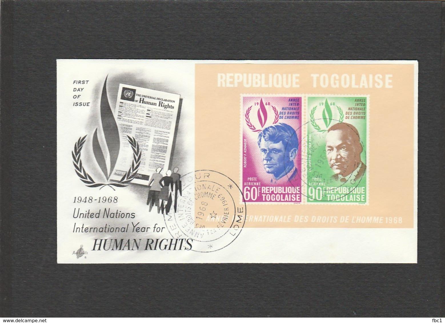 Martin Luther King - FDC République Togolaise - 1968 - Lomé - Togo - Robert F. Kennedy - Martin Luther King