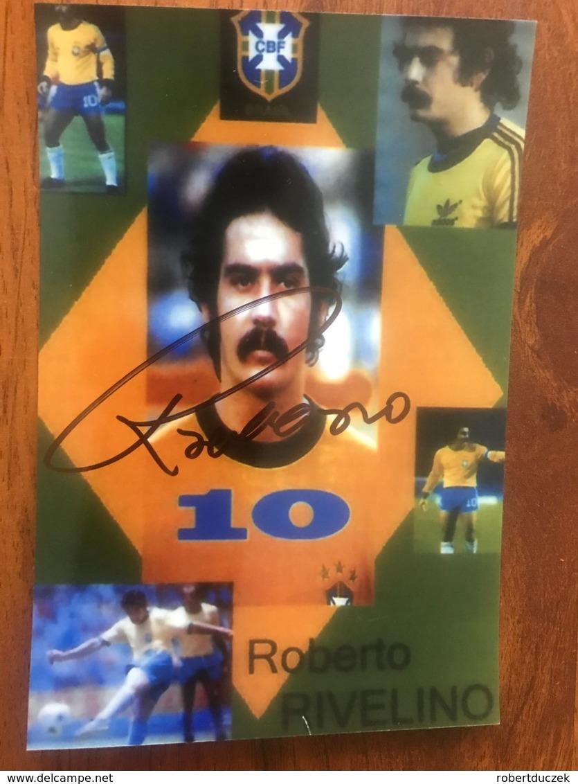 Roberto Rivelino Brazilian Football Player. The Top 100 FIFAs. Photo Autograph Hand Signed 10x15 Cm - Fotos Dedicadas