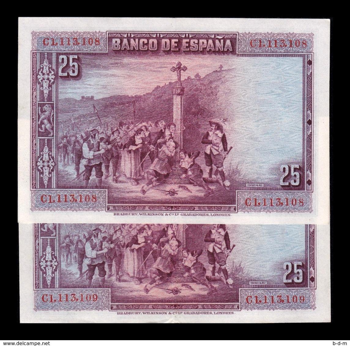 España Spain Pareja 25 Pesetas C. De La Barca 1928 Pick 74b Serie C EBC XF - [ 1] …-1931 : Eerste Biljeten (Banco De España)