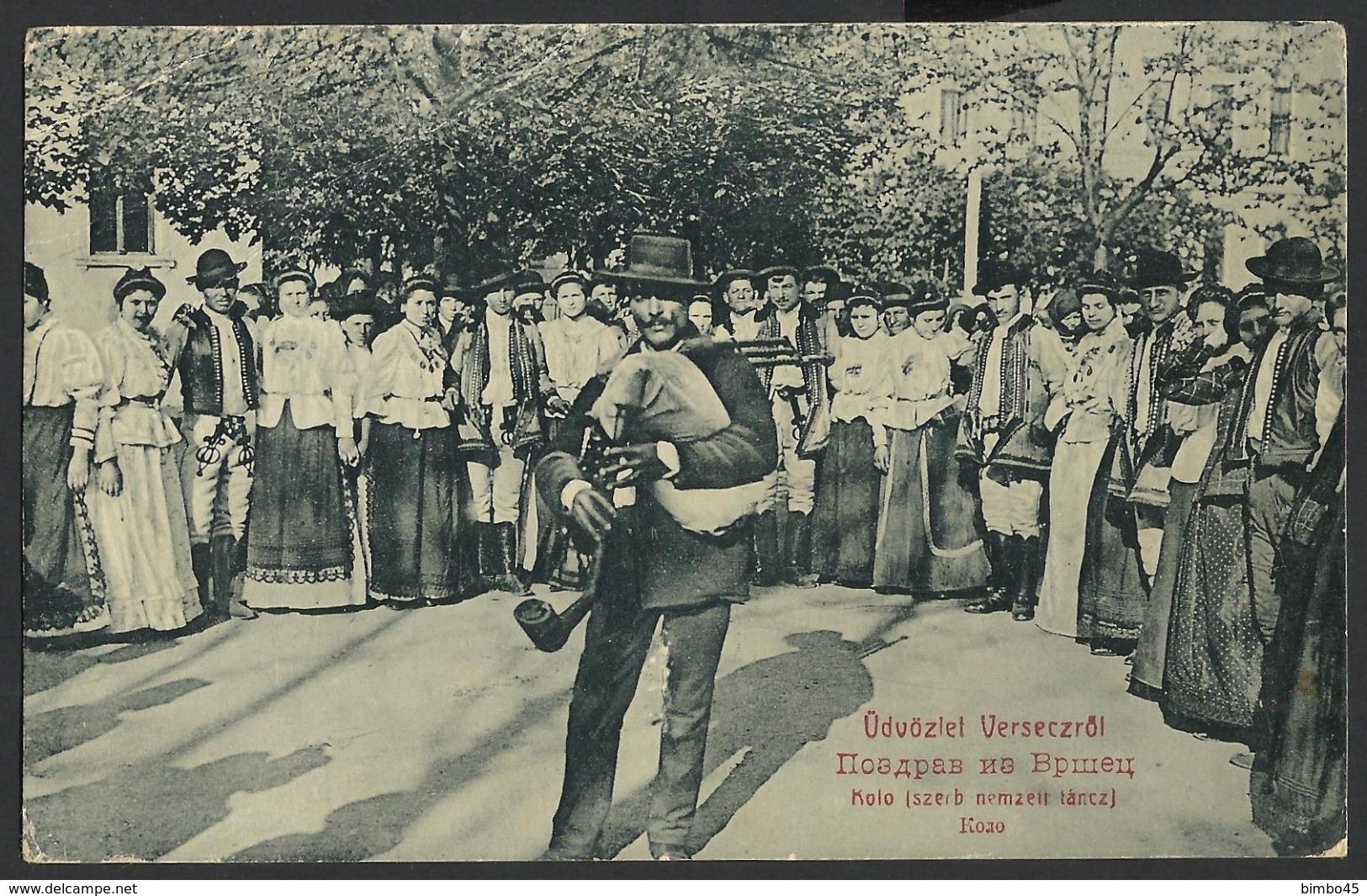 RARE CPA --SERBIA-Vršac-South Banat District-Vojvodina -popular Costumes -KOLO SZERB NEMZETT TANCZ--1909 - Serbia