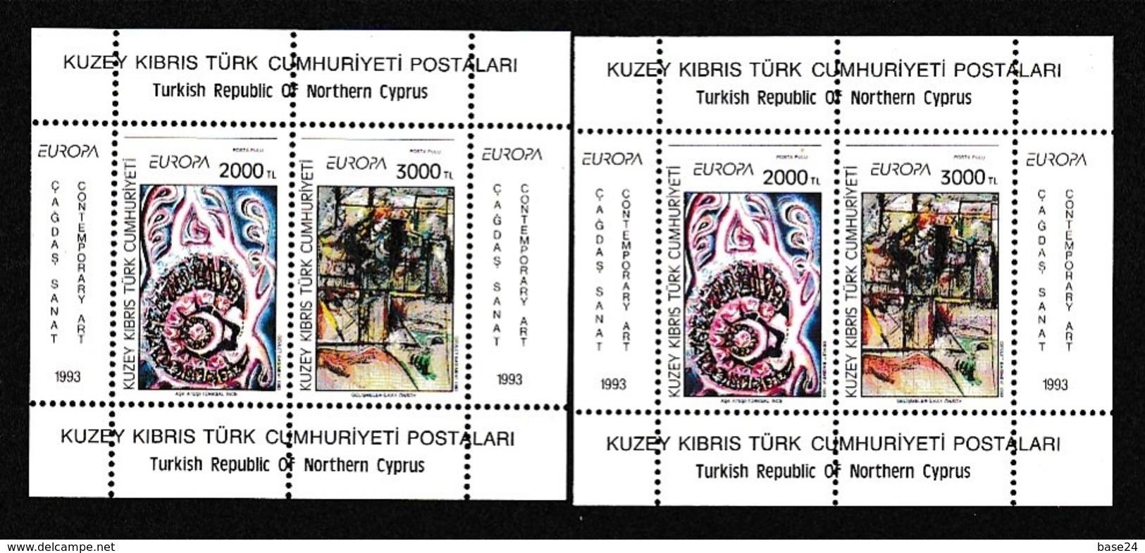 1993 Cipro Turca Turkish Cyprus EUROPA CEPT EUROPE 2 Foglietti MNH** 2 Souv. Sheets - 1993