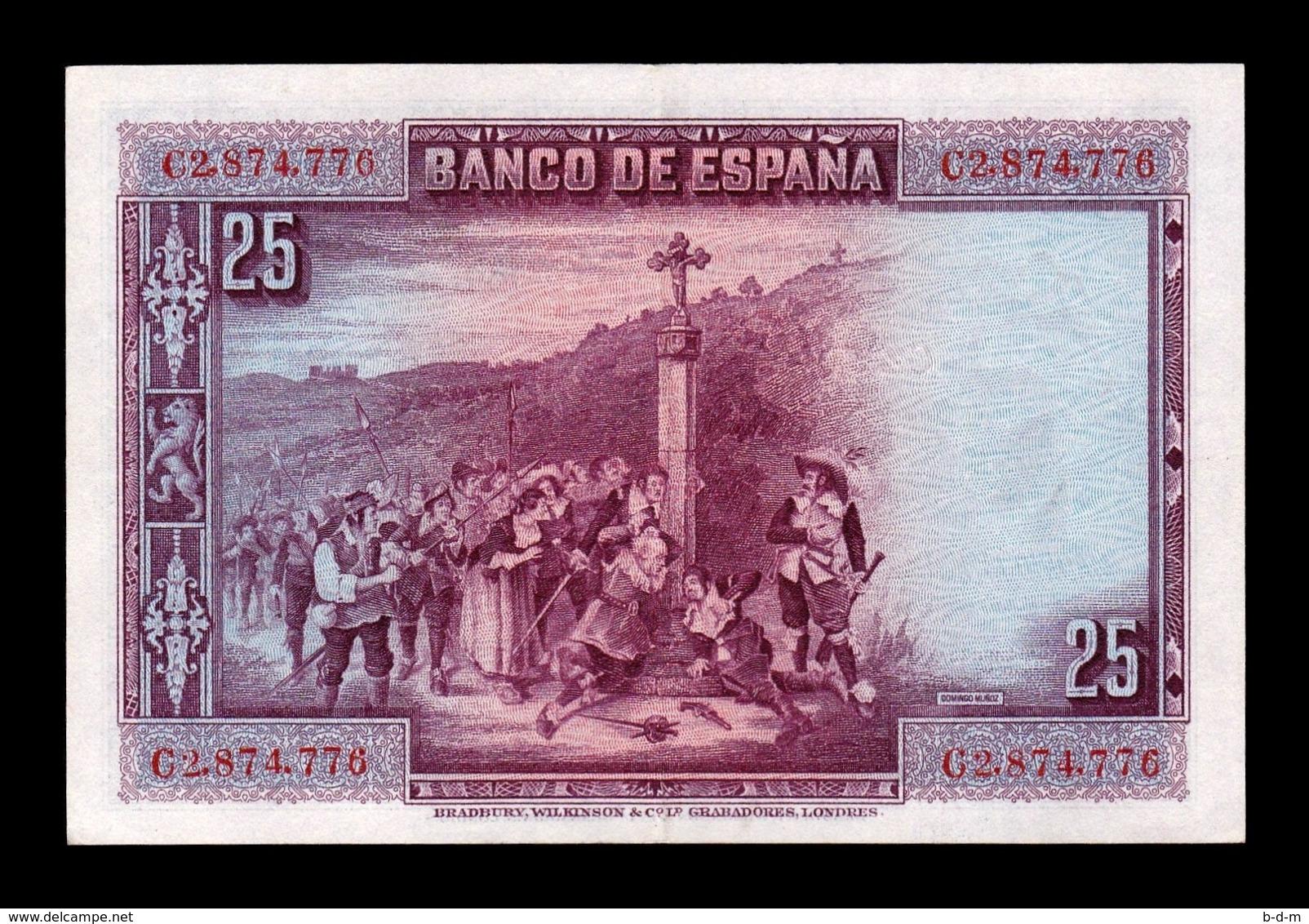 España Spain 25 Pesetas C. De La Barca 1928 Pick 74b Serie C EBC XF - 1-2-5-25 Pesetas