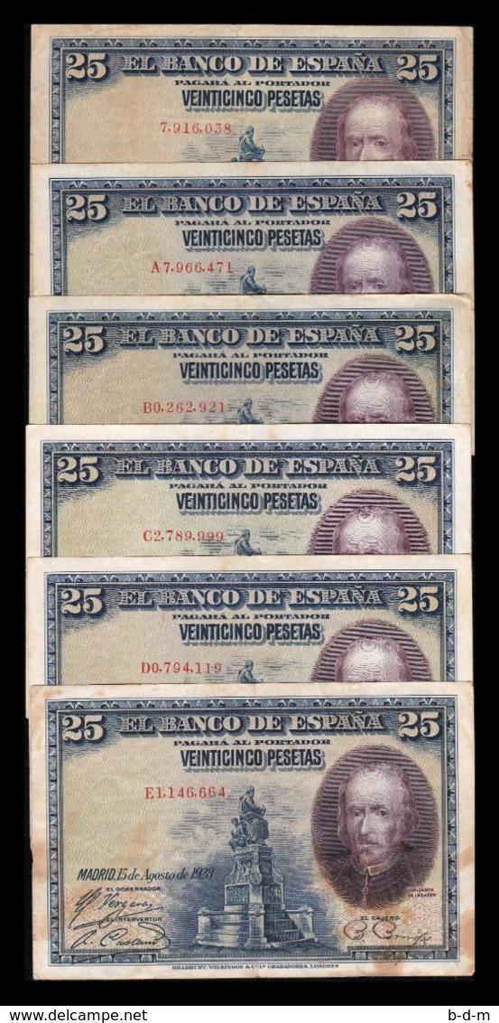 España Lot 6 Banknotes 25 Pesetas C. De La Barca 1928 Pick 74 All Serial BC/MBC F/VF - [ 1] …-1931 : Eerste Biljeten (Banco De España)