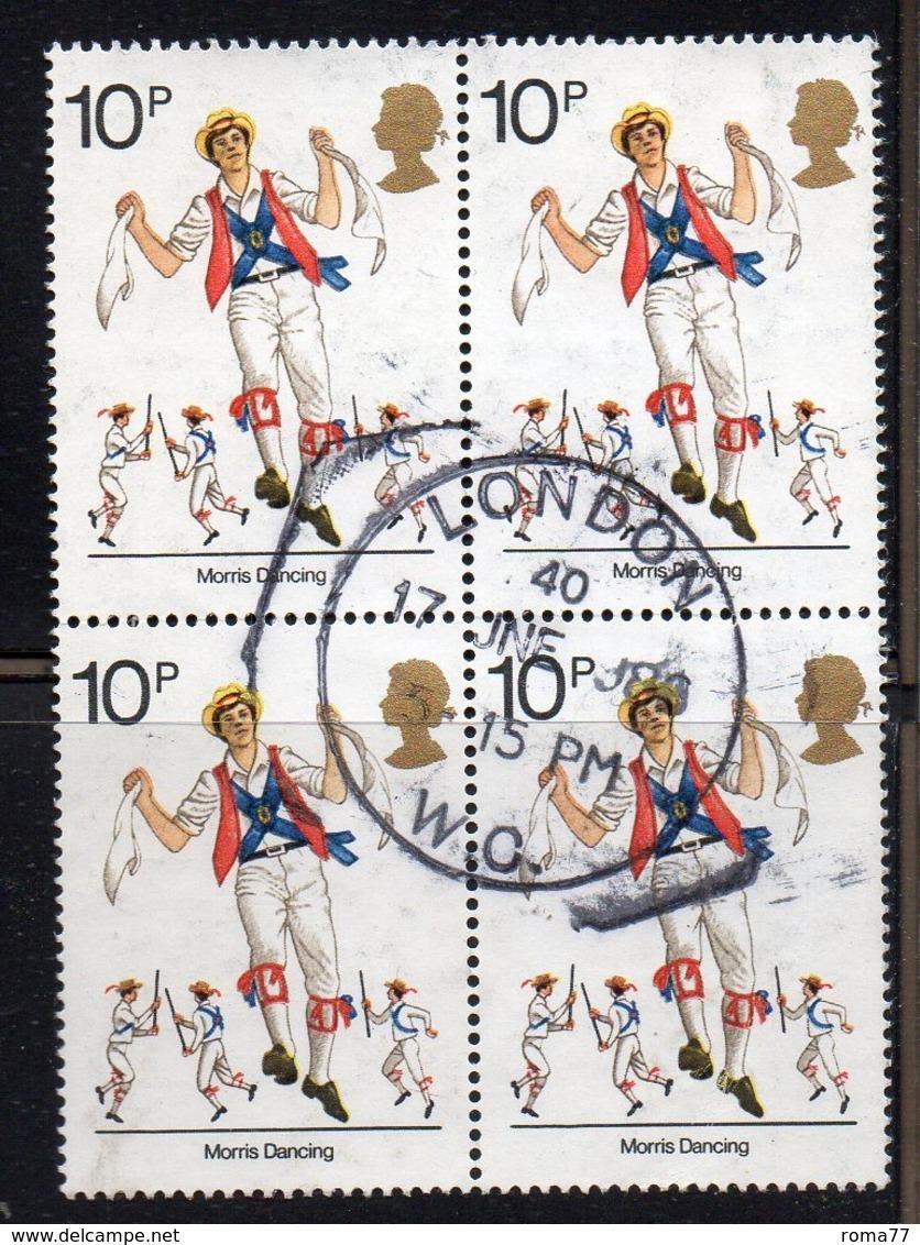 ENR49B - GRAN BRETAGNA 1976 , 10 P. Quartina Usata Del 800  (2380A) - Usati