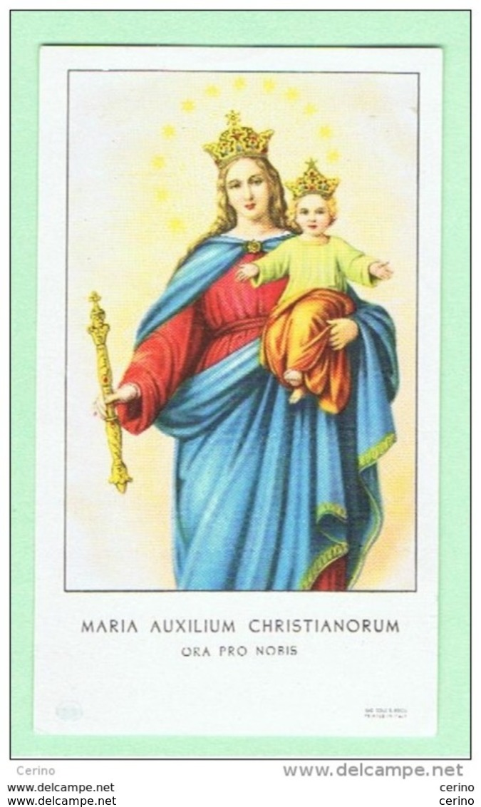 SANTINO:  MARIA  AUXILIUM  CHRISTIANORUM  -  ORA  PRO  NOBIS  -  Mm. 62x105 - Santini
