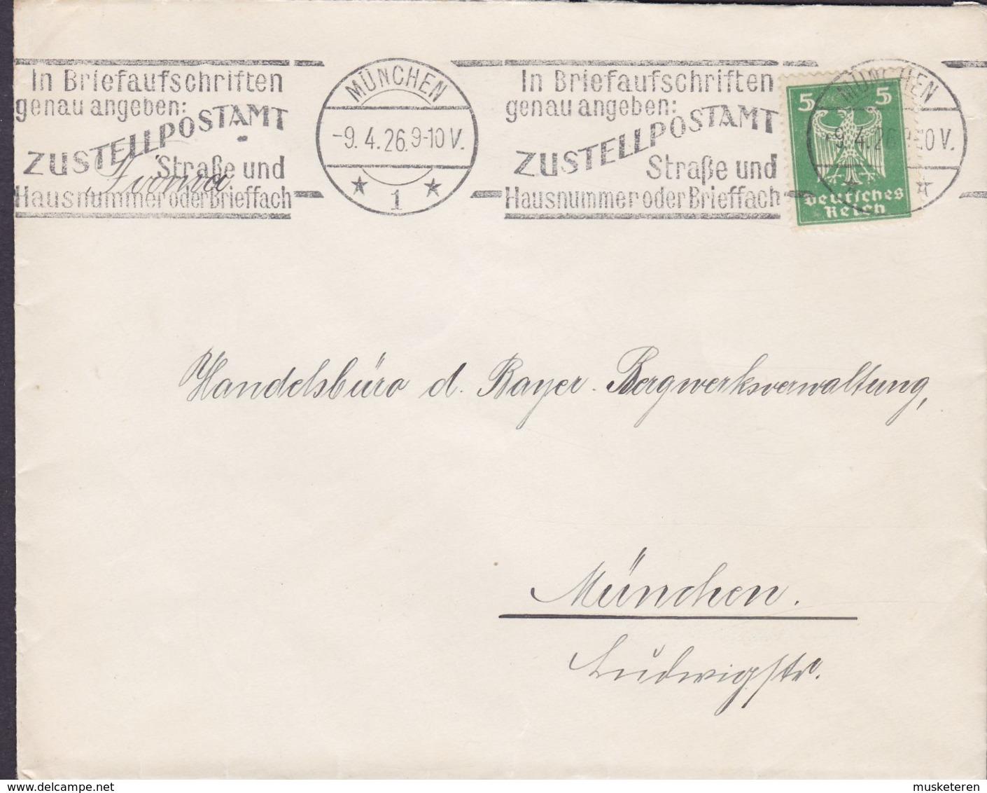 Deutsches Reich Slogan 'ZUSTELLPOSTAMT' MÜNCHEN 1926 Cover Brief HANDELSBUREAU BAYER. BERGWERKSVERWALTUNG - Deutschland
