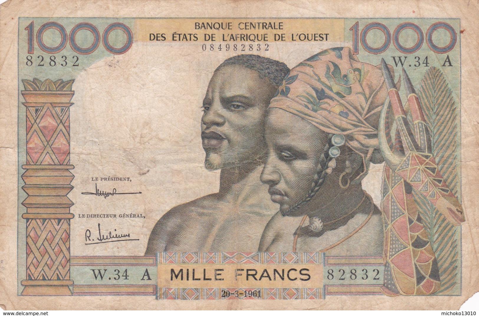 BILLET 1000 FRANCS CFA COTE D IVOIRE PICK 103 A VOIR SCAN - Stati Dell'Africa Occidentale