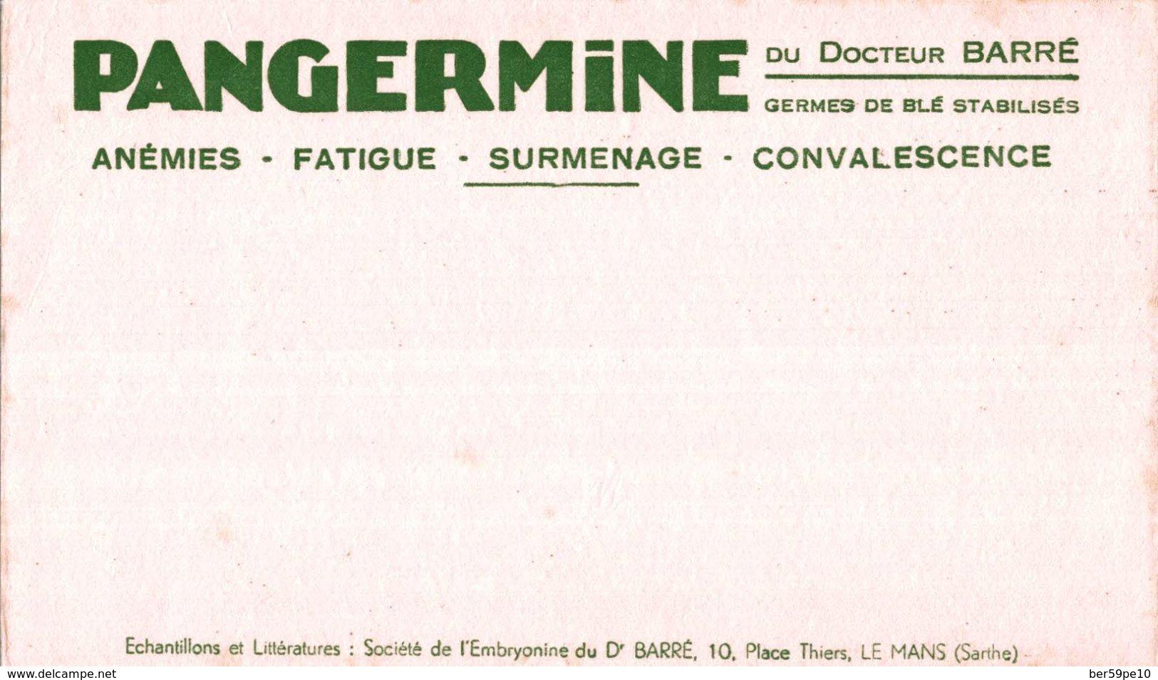 BUVARD PANGERMINE DU DOCTEUR BARRE ANEMIE FATIGUE SURMANAGE CONVALESCENCE - Produits Pharmaceutiques