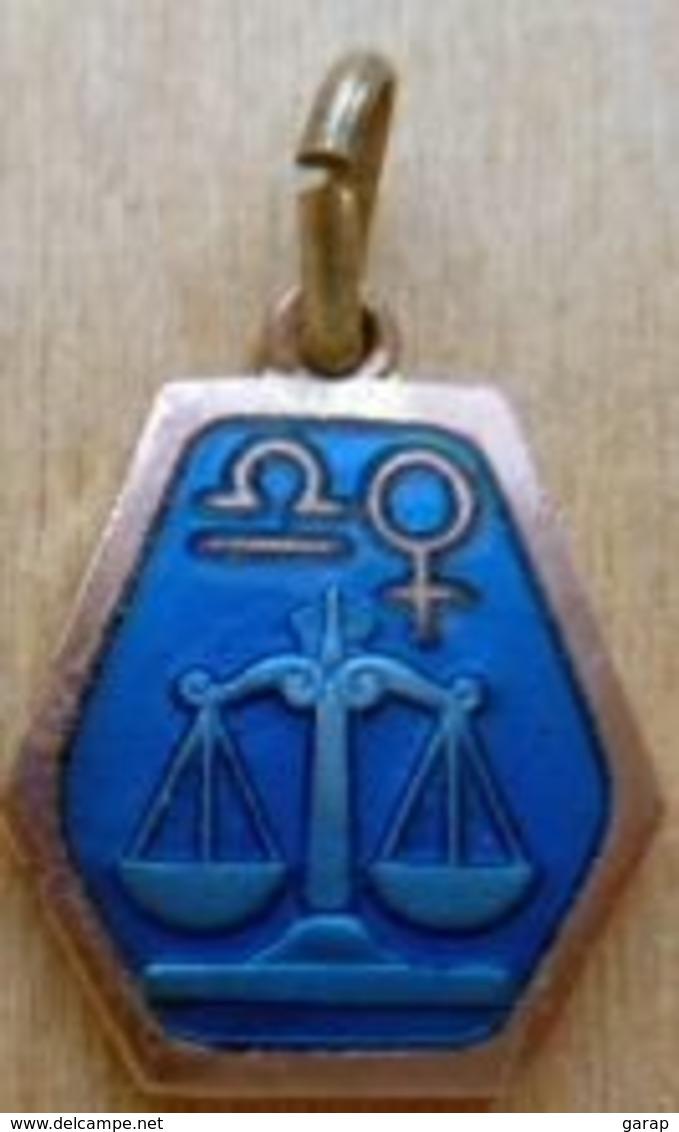 Medz-004 Médaille Zodiac émaillée Bleue,pourtour Cuivré BALANCE - Religión & Esoterismo