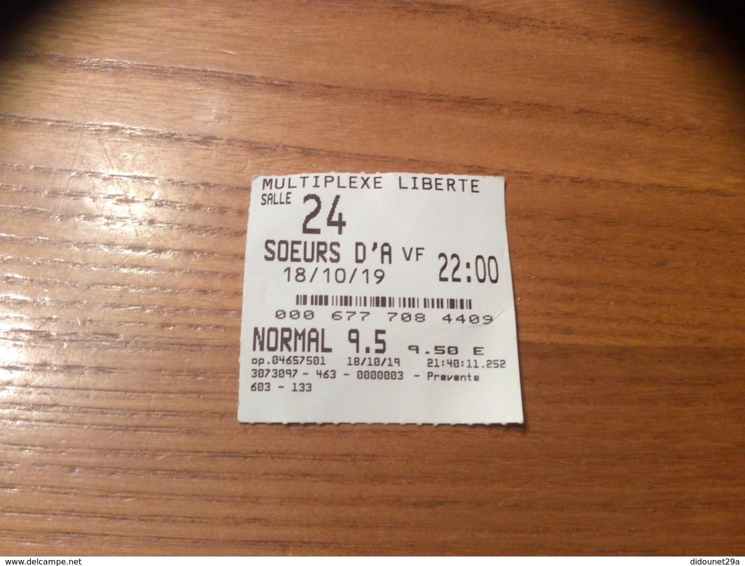 """Ticket De Cinéma SALLE 24 MULTIPLEXE LIBERTE BREST (29) """"SŒUR D'A"""" / Dos KFC 20% DE REMISE SUR VOTRE COMMANDE - Tickets - Vouchers"""