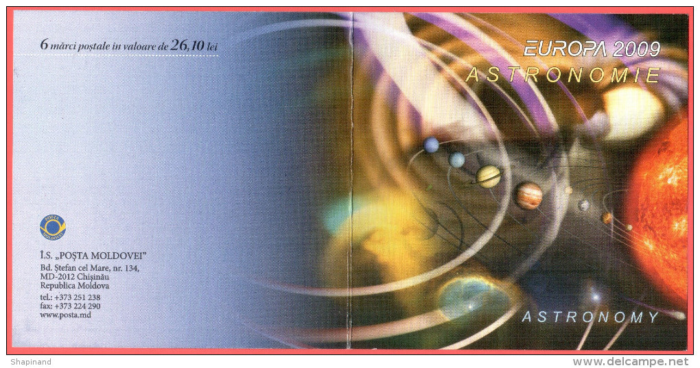 """Moldova 2009 """"Europa-CEPT 2009"""" """"Astronomy"""" Perforated Booklet Quality:100% - Europa-CEPT"""