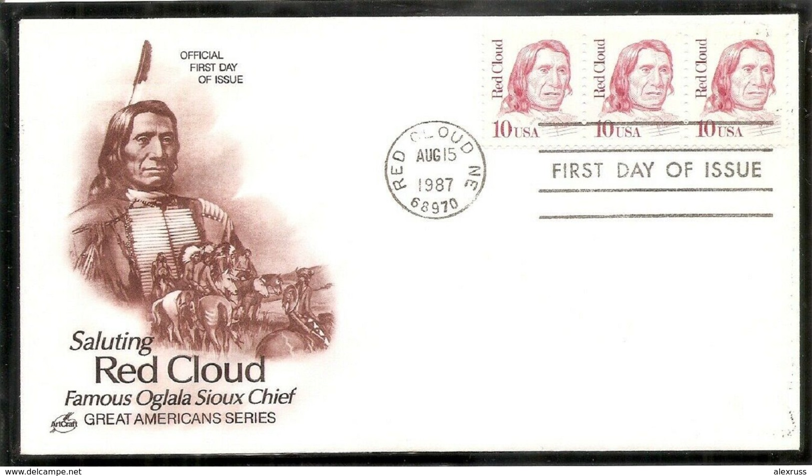 US 1987 FDC Cachet, American Indians, Red Cloud, Famous Sioux Indian Chief, Sc # 2175,VF !! (RN-8) - American Indians