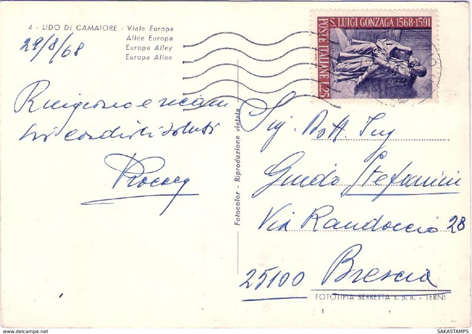 1968- Cartolina Lido Di Camaiore Viale Europa Affrancata L.25 Gonzaga Isolato - Lucca
