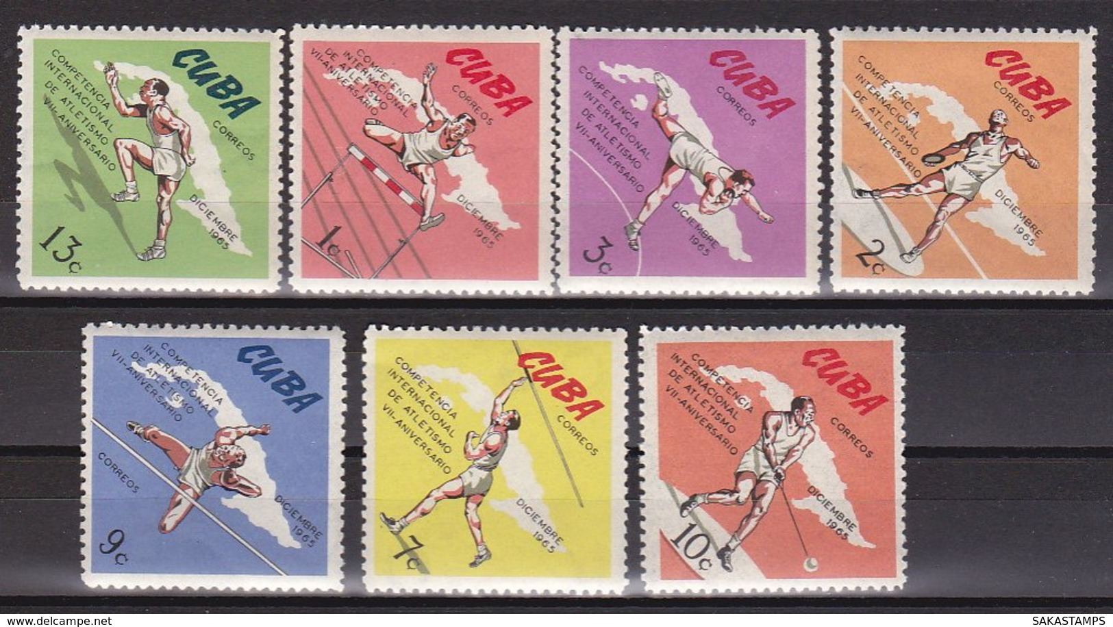 "1965-(MNH=**) Cuba S.7v.""Sport Vari"" - Nuovi"