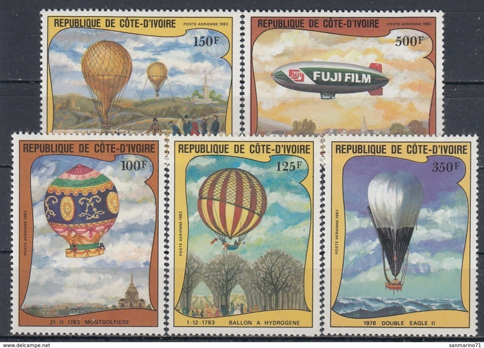 IVORY COAST 772-776,unused,balloons - Costa De Marfil (1960-...)