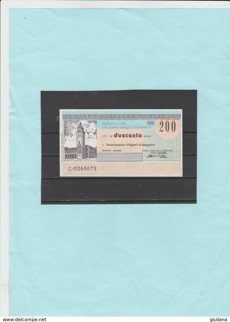 Italia Repubblica - Miniassegno L. 200  La Banca Popolare Di Bergamo, 9/12/1976 - [10] Assegni E Miniassegni