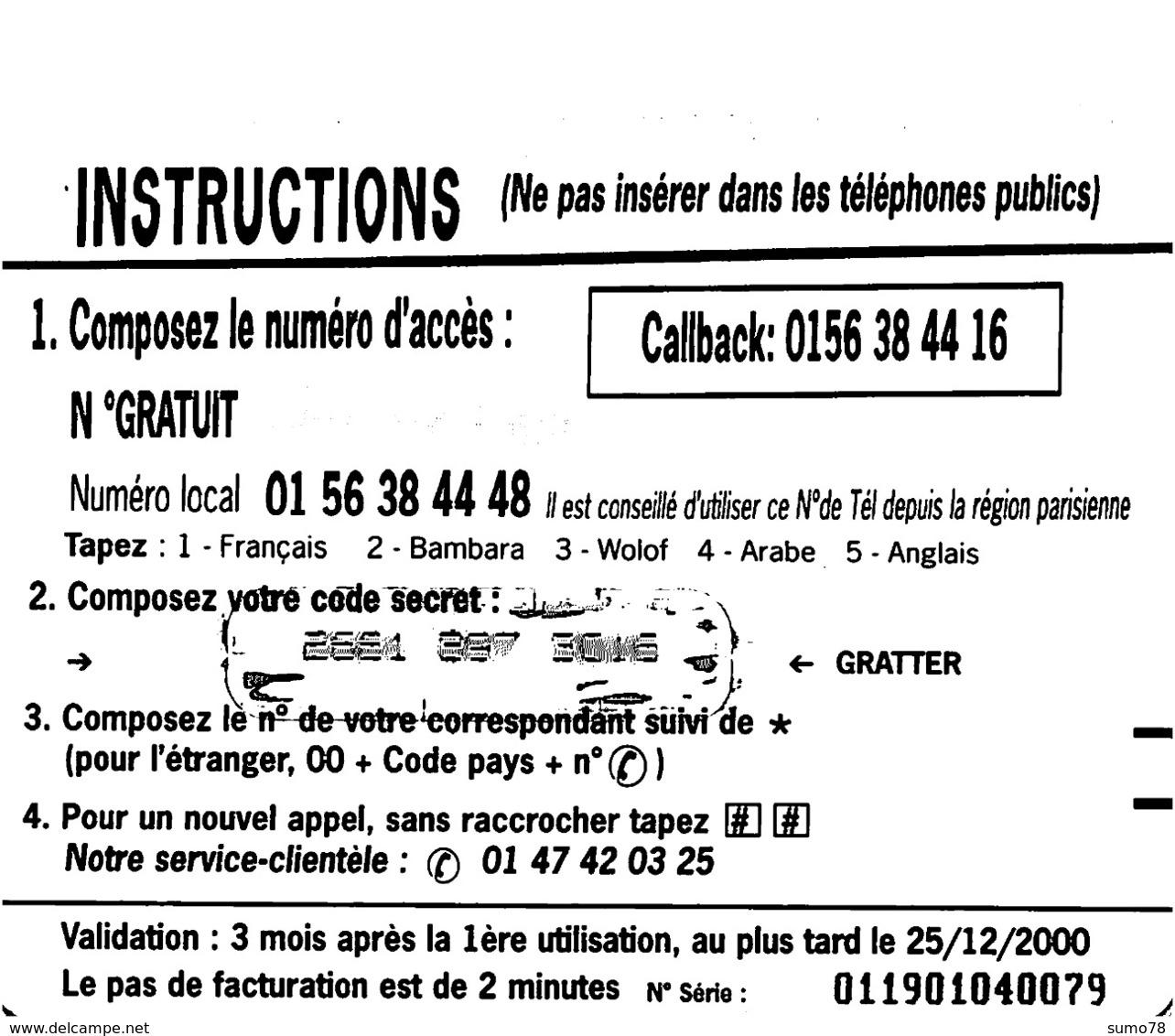 Carte Prépayée - BONJOUR AFRIQUE- 100 FF - Andere Voorafbetaalde Kaarten