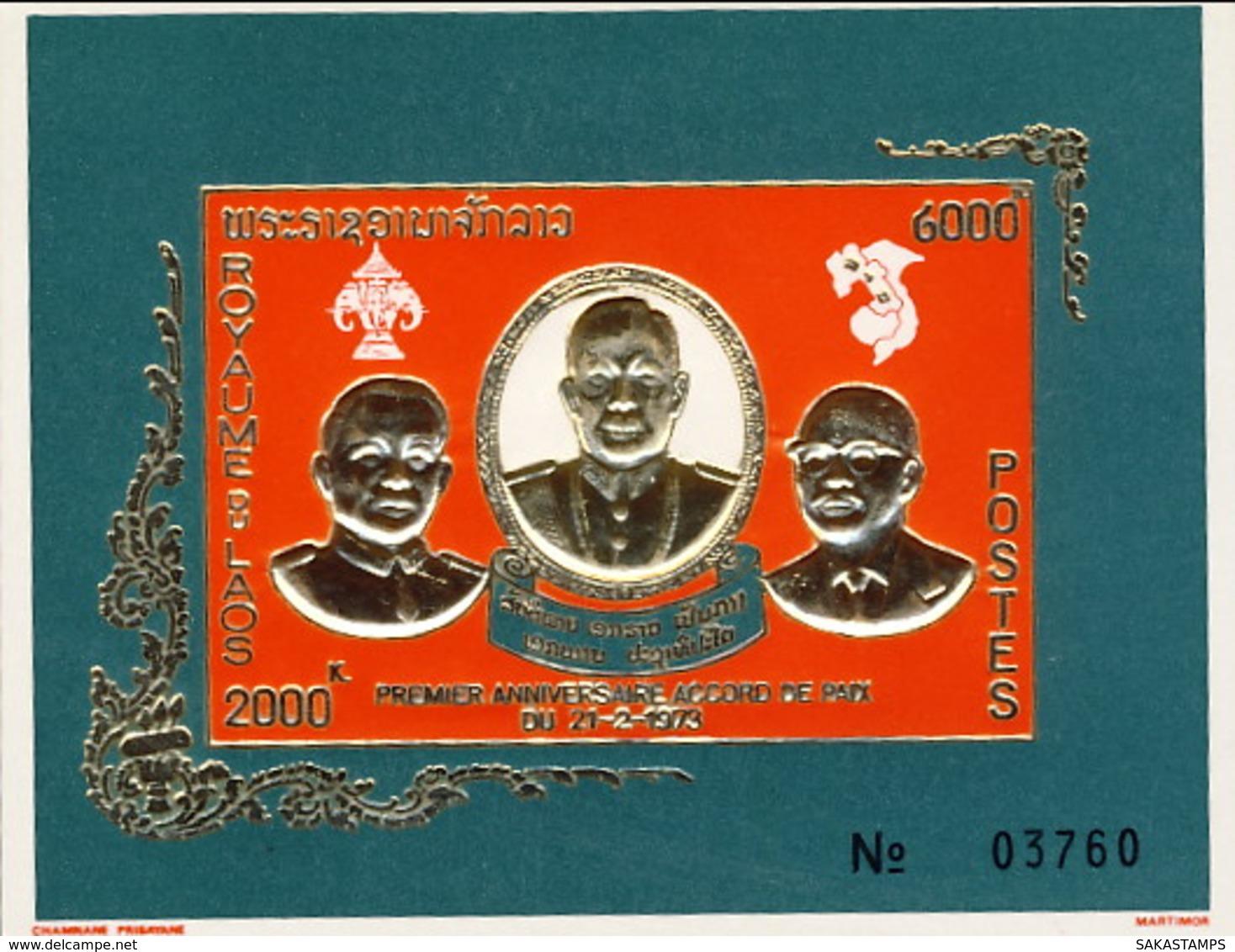 """1975-(MNH=**) Laos Foglietto Non Dentellato S.1v.""""primo Anniversario Degli Accordi Di Pace Di Vientiane""""catalogo Yvert E - Laos"""