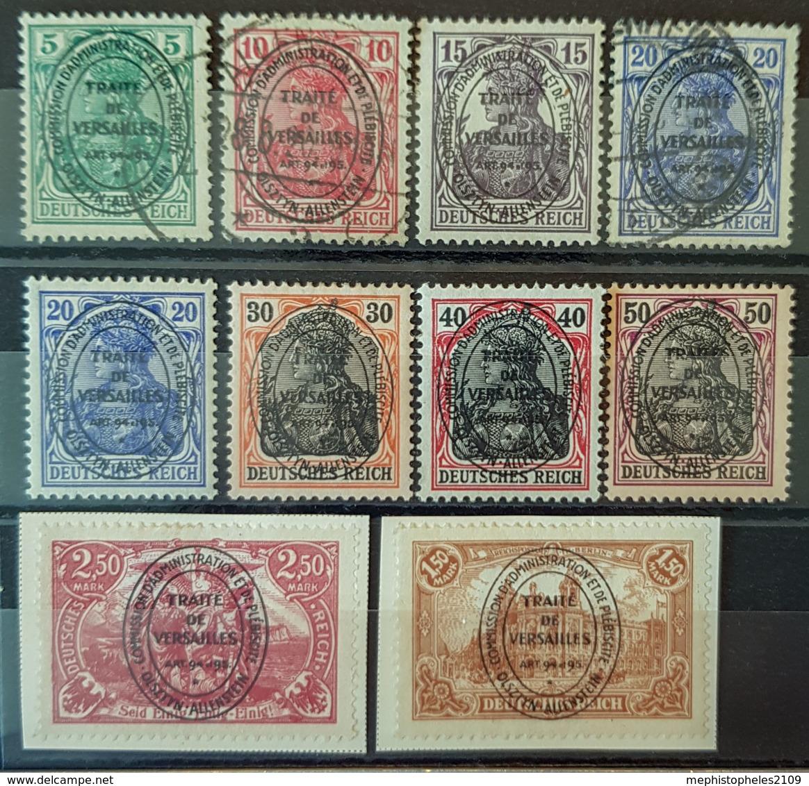 ALLENSTEIN 1920 - MLH/canceled - Mi 15, 16, 17, 19 (2x), 20, 21, 22, 26, 27 - Deutschland