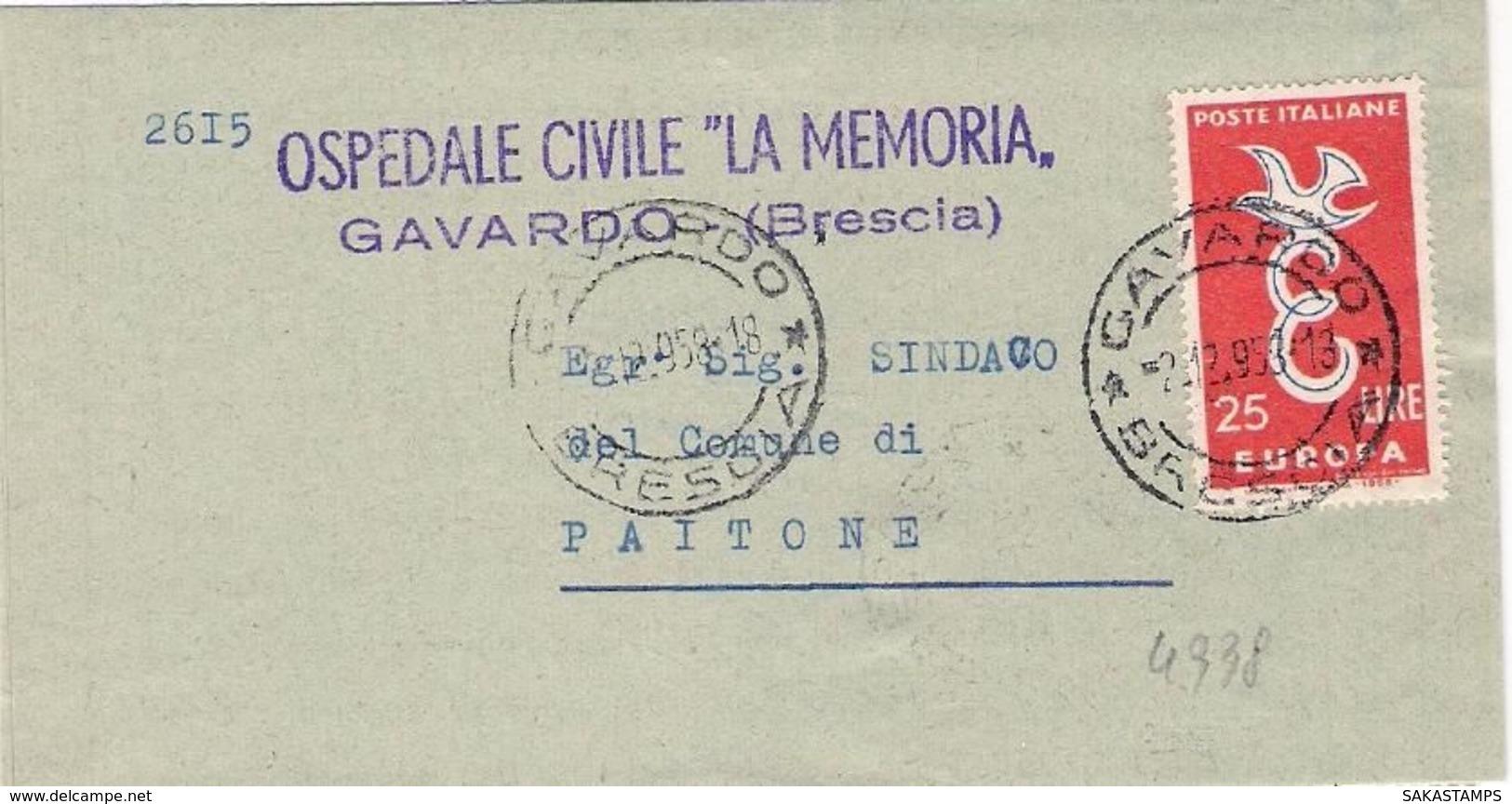 1958-Europa L.25 Su Piego Ospedaliero - 6. 1946-.. Repubblica