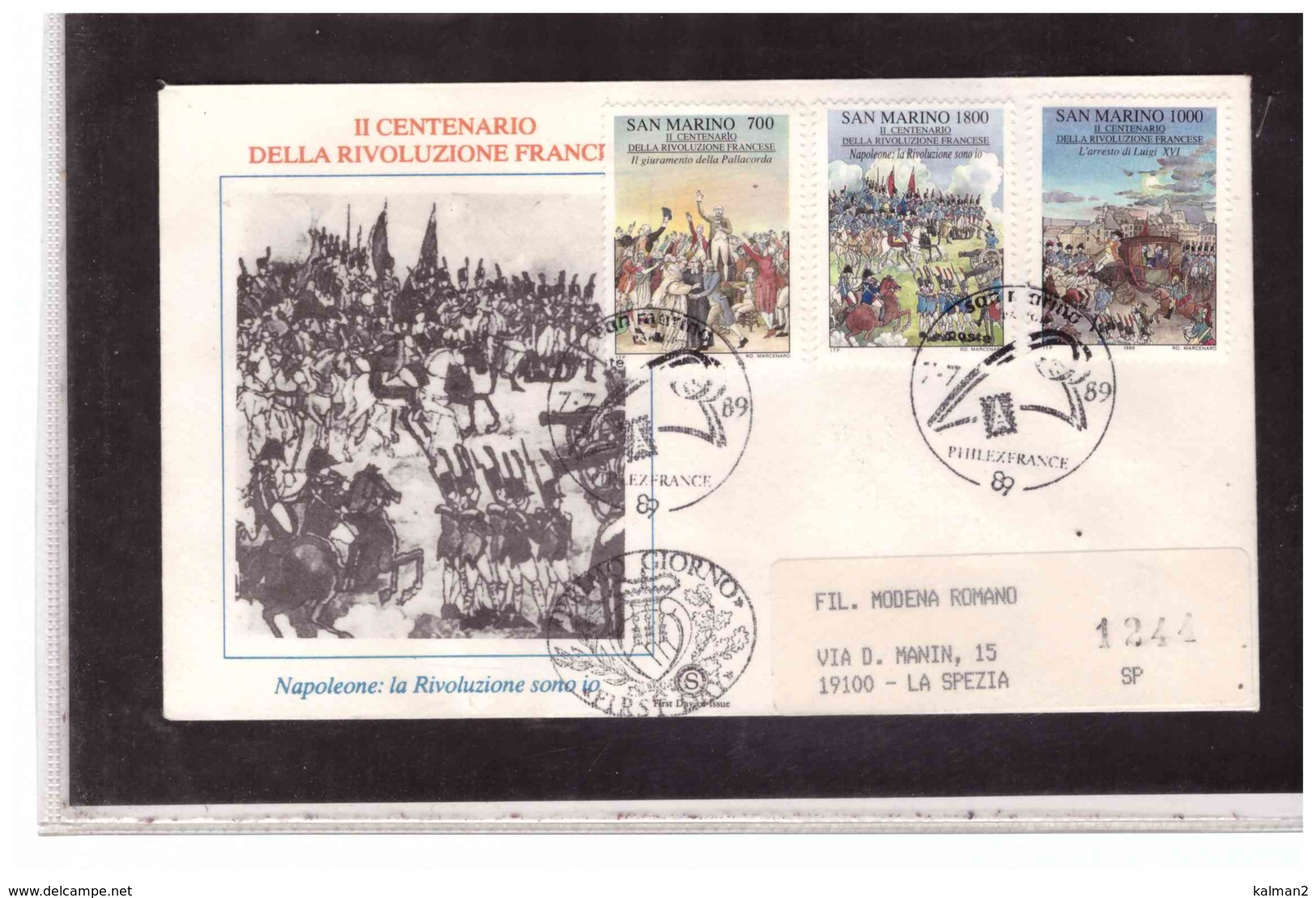FDC5492  -  SAN MARINO  7.7.1989    /   FDC CAT.UNIFICATO   1262/64   -  BICENTENARIO  DELLA RIVOLUZIONE FRANCESE - Franz. Revolution
