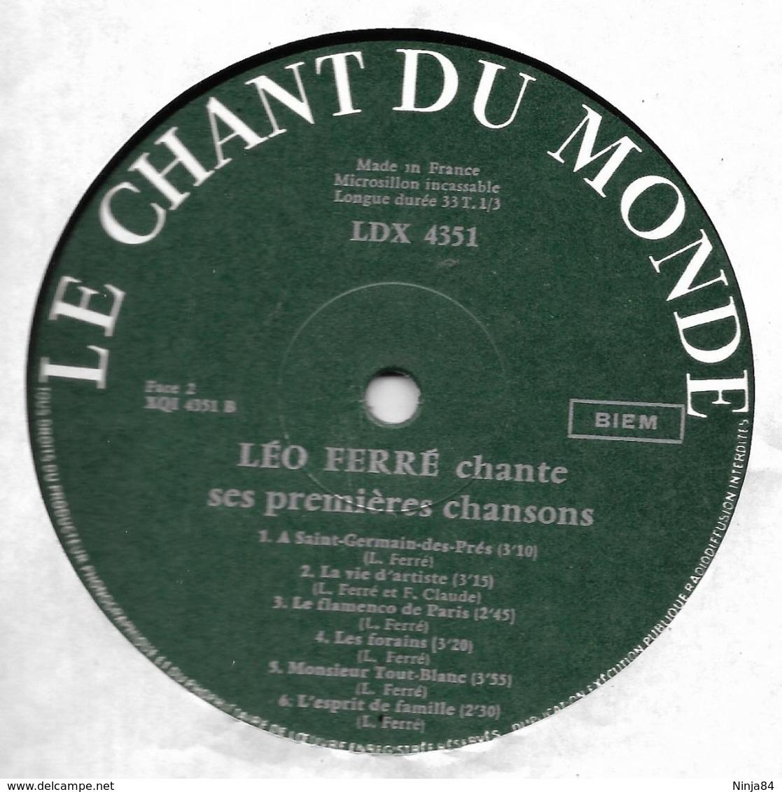 """LP 33 RPM (12"""")  Léo Ferré  """"  Chante Ses Premières Chansons  """" - Vinyl Records"""