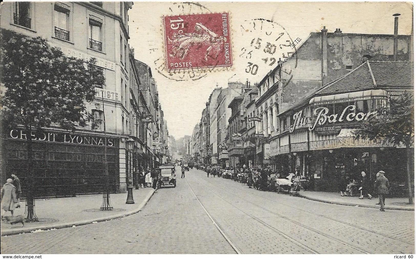 """Cpa Paris, Rue De Ménilmontant, Café """"au Balcon"""" - Arrondissement: 20"""