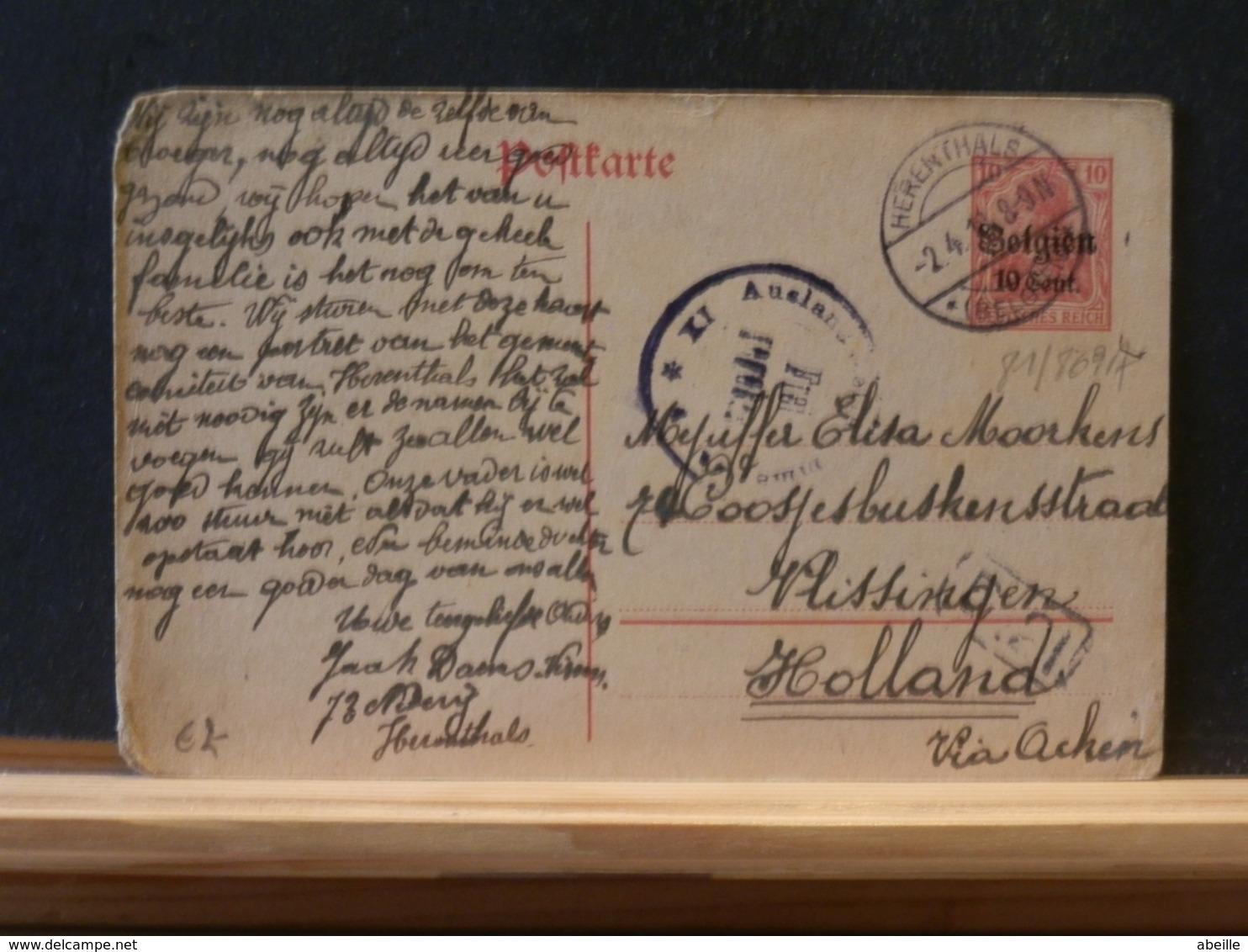 81/869   CP HERENTHALS POUR LA HOLLANDE CENSURE - WW I