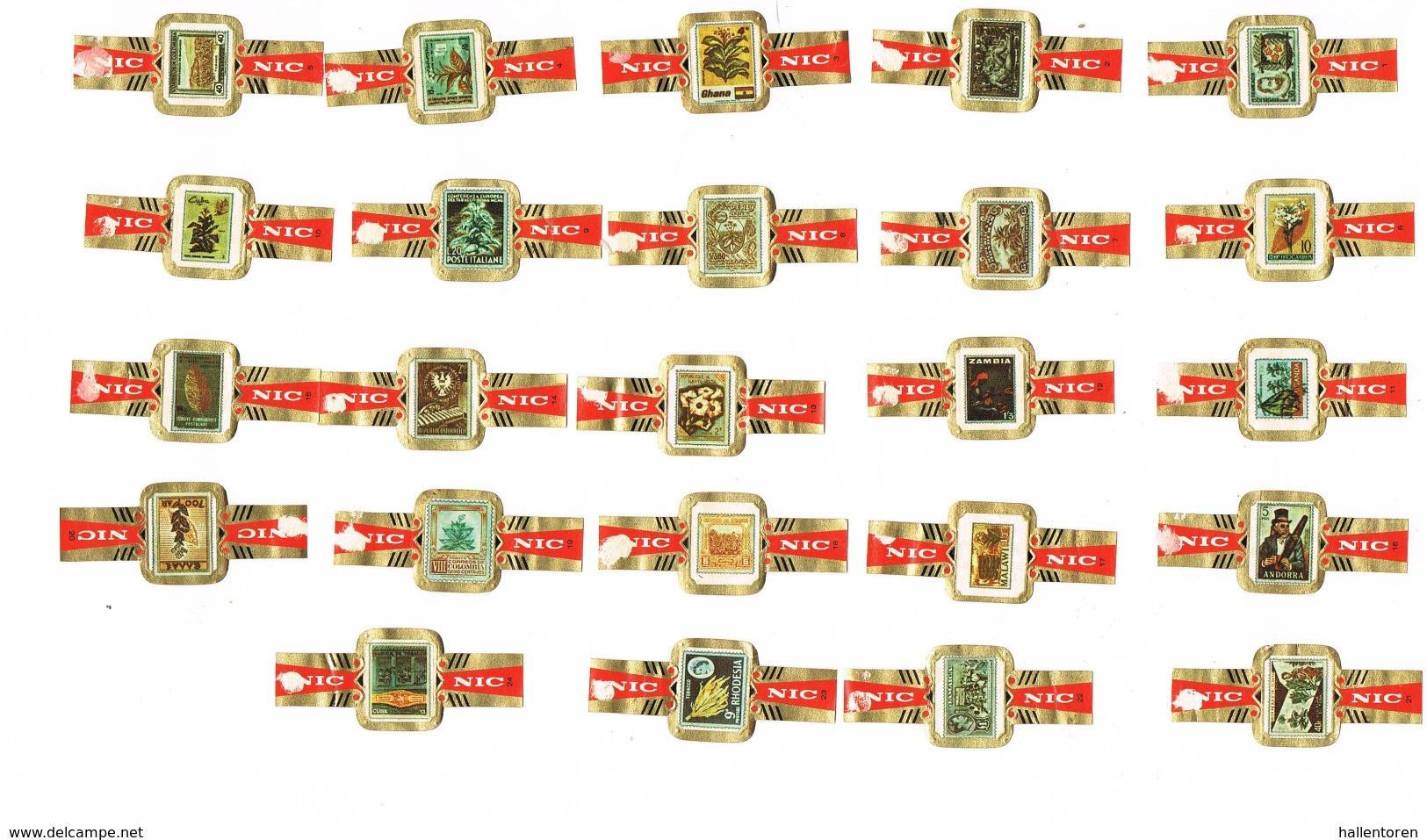 NIC: 'Postzegels Over Tabak ' (volledige Reeks) - Bagues De Cigares