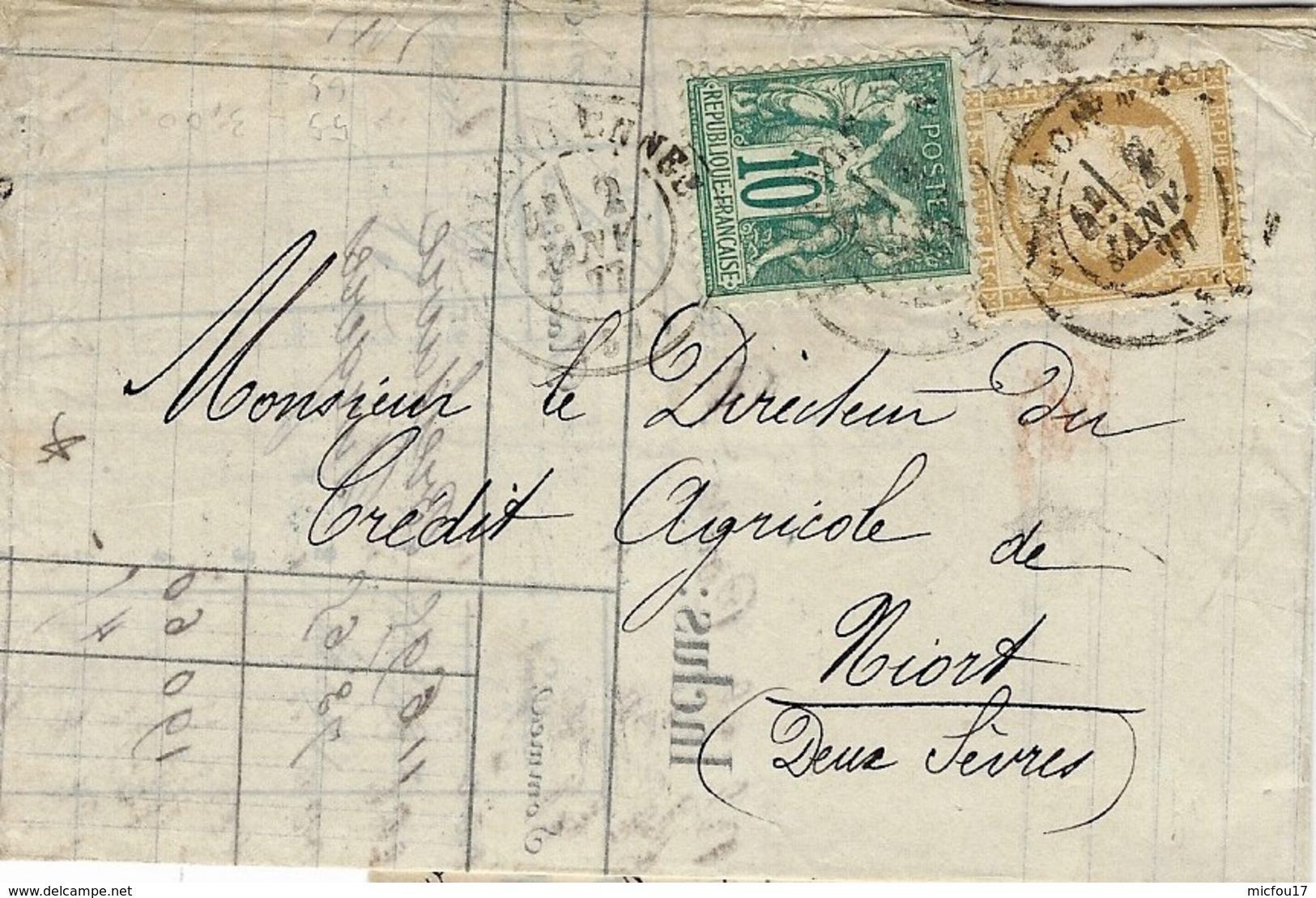 1877- Lettre De Valenciennes ( Nord ) Affr. Cérès N° 55 + Sage N° 65 Pour Niort - Storia Postale