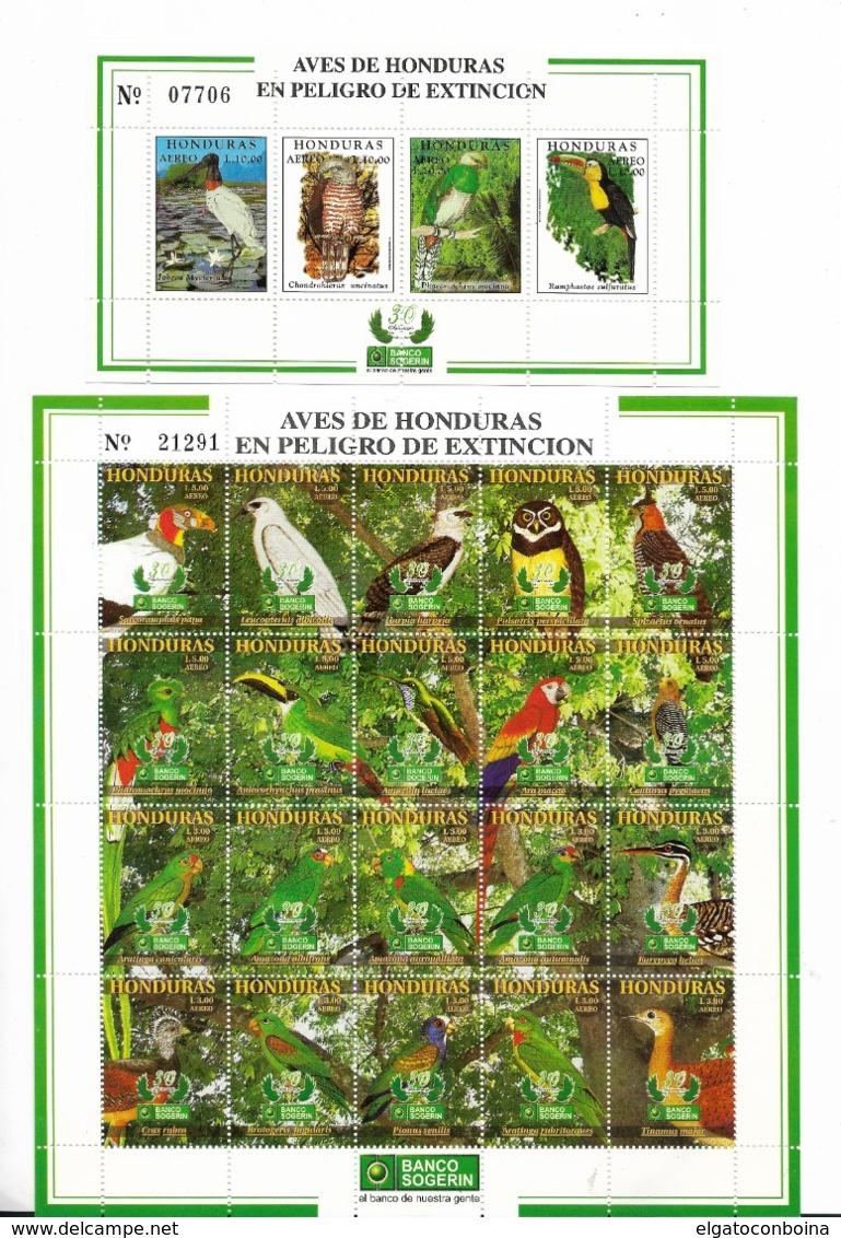 HONDURAS YEAR 1999 ENDANGERED BIRDS, PARROT, 2 SHEETS MNH 20 VALUES +SS - Honduras
