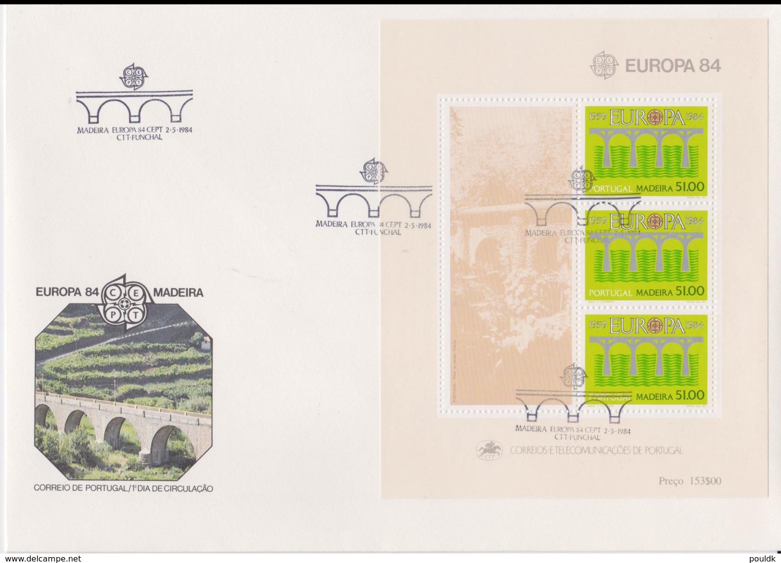 Madeira 1984   FDC Europa CEPT Souvenir Sheet (LAR8-46) - 1984