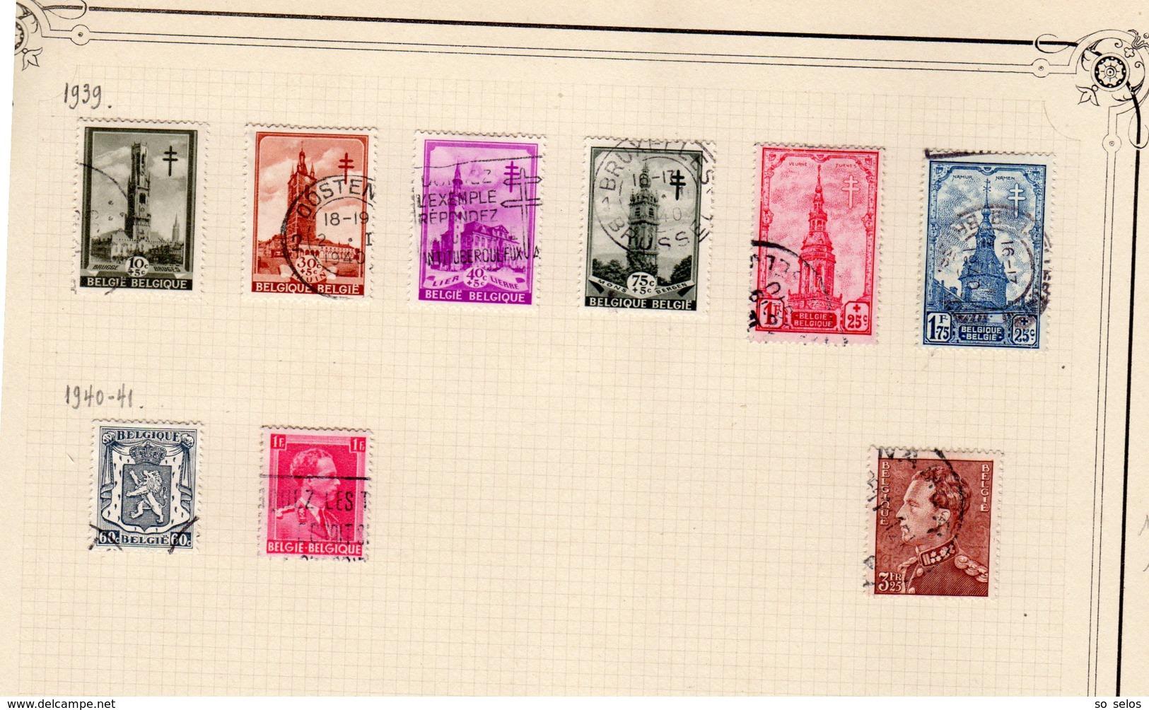 Timbres Belgique     1938/41      Oblitérés  0 - België