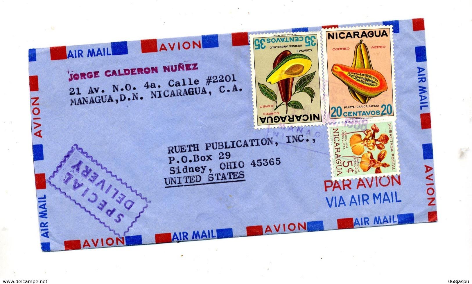 Lettre  Special Cachet Sur Fruit Orchidée - Nicaragua