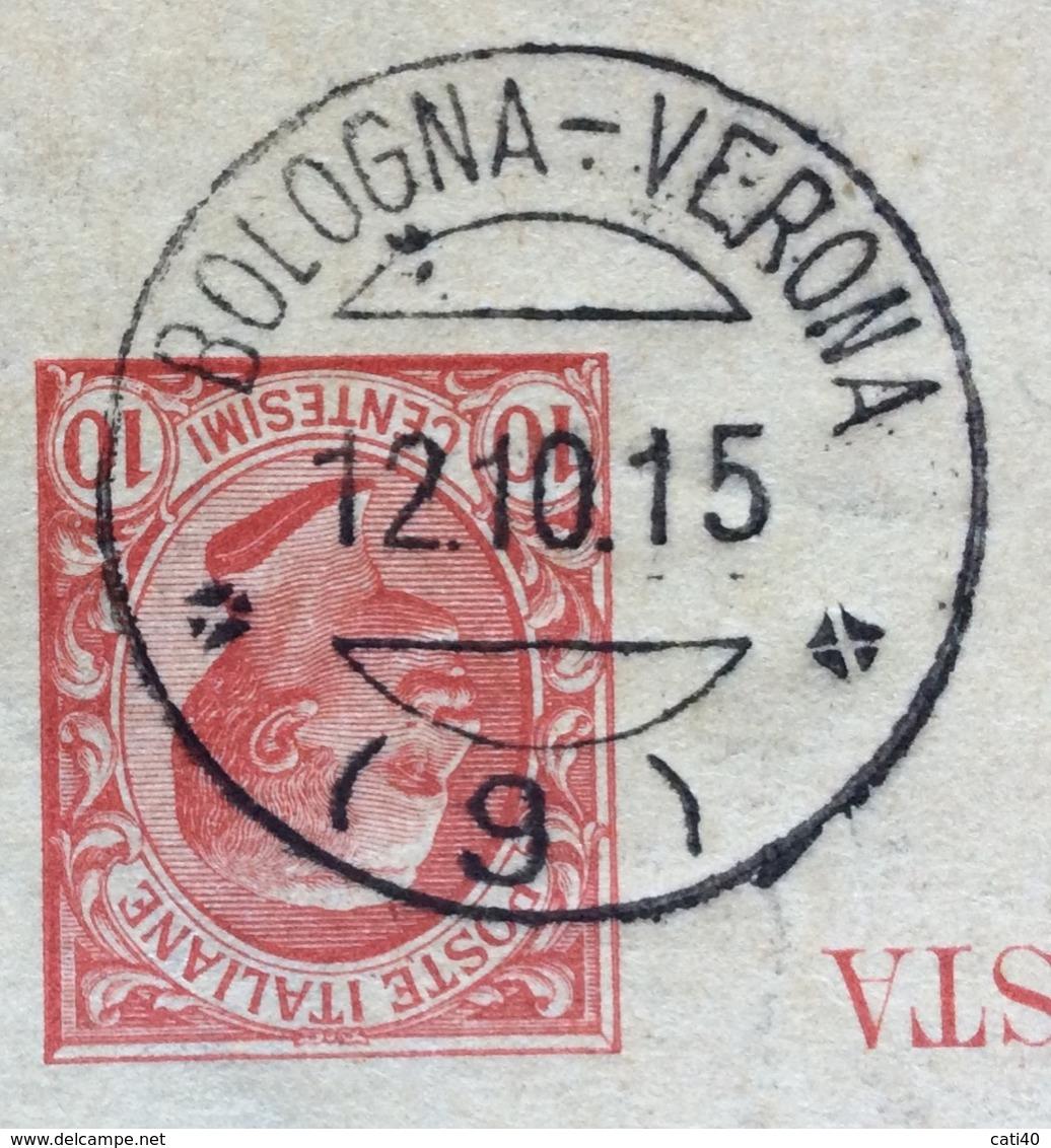 AMBULANTE BOLOGNA-VERONA (9) 12/10/15  SU CARTOLINA POSTALE-RISPOSTA  DA BELFORTE A BOLOGNA - Storia Postale