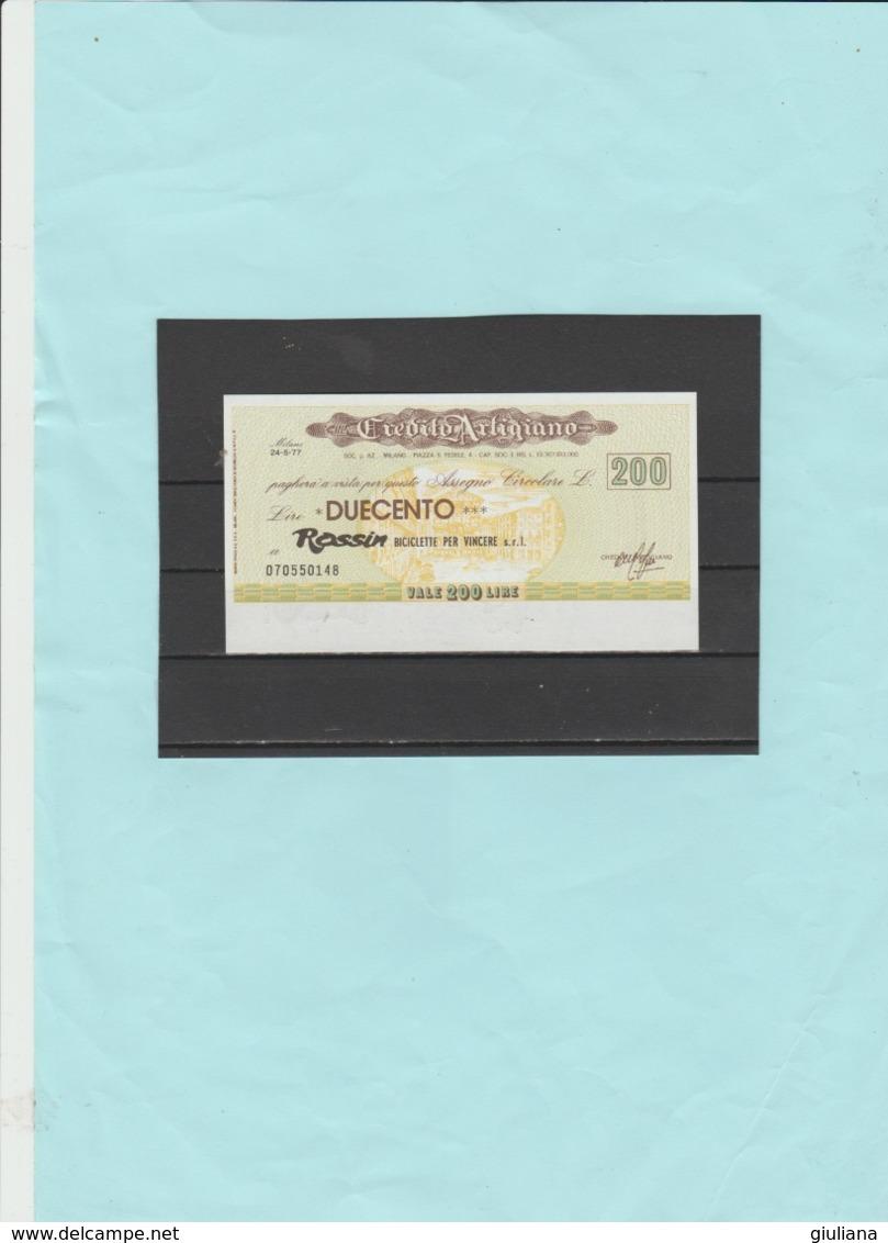 Italia Repubblica - Miniassegno L.  200  Credito Artigiano,  24/5/1977 - [10] Assegni E Miniassegni