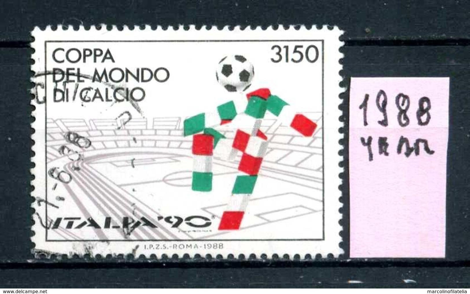 ITALIA  REPUBBLICA - Year 1988 - Coppa Del MONDO Di CALCIO - Usati Used Utilisè Gestempelt Viaggiati Gereist.. - 6. 1946-.. Repubblica