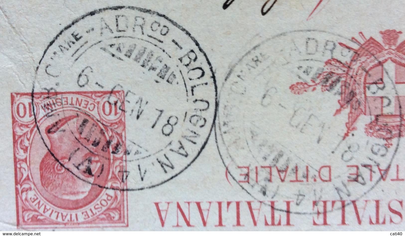 AMBULANTE C.MARE AD.o - BOLOGNA N.14  (A) 6 GE N 18 SU CARTOLINA POSTALE AUTOGRAFA OFFICINE CALZONI BOLOGNA - 1900-44 Vittorio Emanuele III