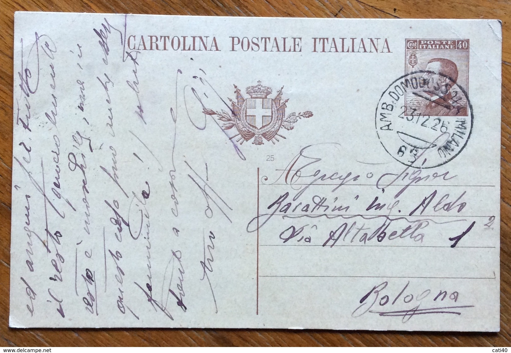 AMBULANTE DOMODOSSOLA-MUILANO  68 * 23/12/26   SU CARTOLINA POSTALE  DA  COMO A BOLOGNA - 1900-44 Vittorio Emanuele III
