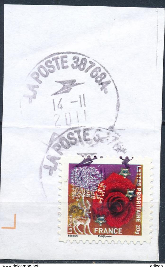 France - Meilleurs Voeux 2010 YT A498 Obl. Cachet Rond Manuel Sur Fragment - France