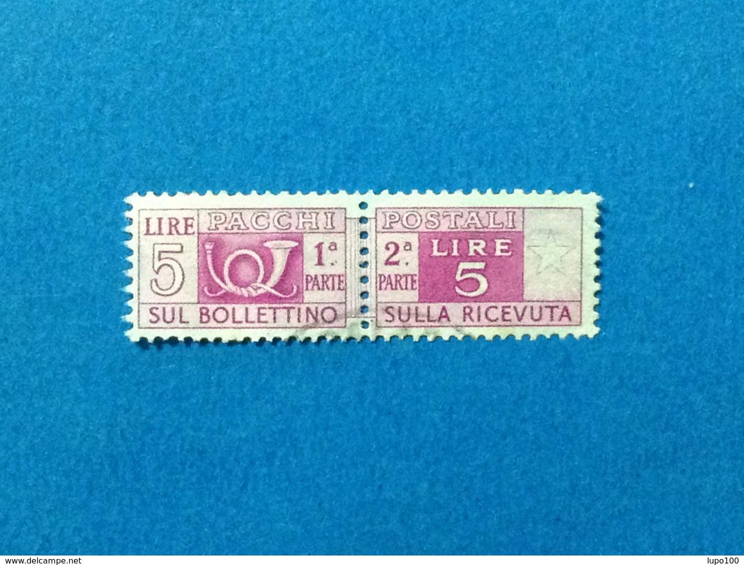1947 ITALIA FRANCOBOLLO USATO STAMP USED SERVIZI PACCHI POSTALI 5 LIRE FILIGRANA RUOTA - 6. 1946-.. Repubblica