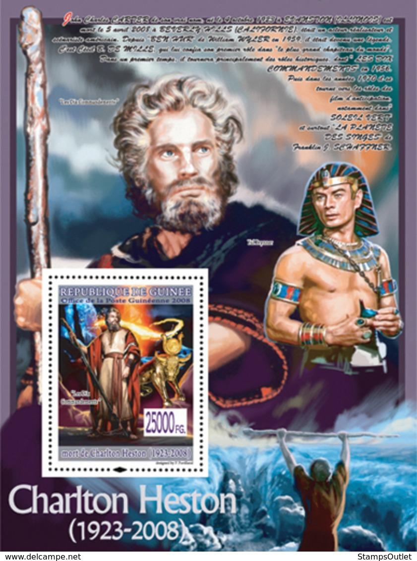 "Guinea 2008 MNH -CELEBRITIES- Charlton Hetson (1923-2008), ""The Ten Commandments"", Yul Brynner. YT 885, Mi 5644/BL1548 - República De Guinea (1958-...)"