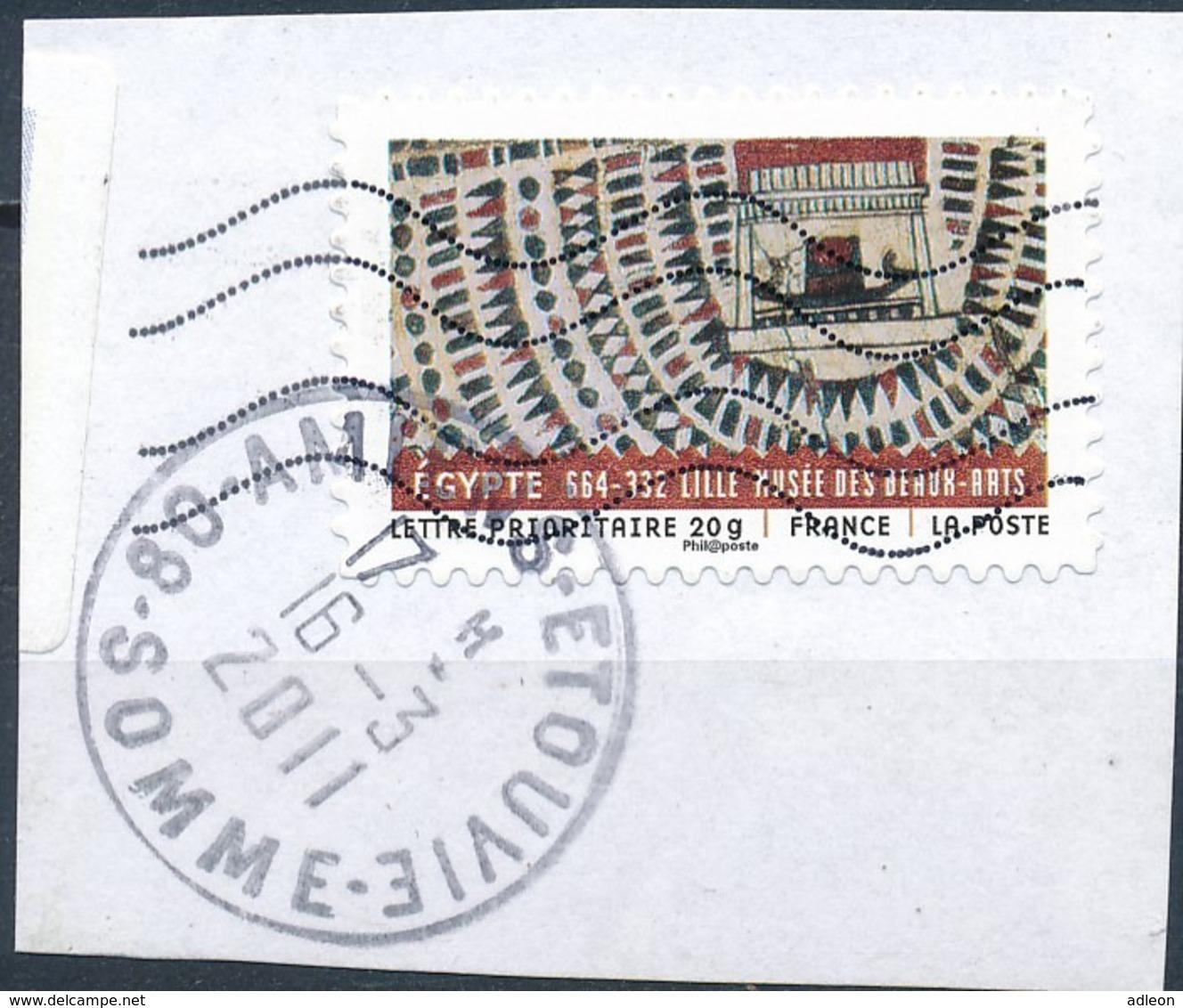 France - Tissus Du Monde - Egypte YT A517 Obl. Cachet Rond Manuel Et Ondulations Toshiba Sur Fragment - Adhésifs (autocollants)