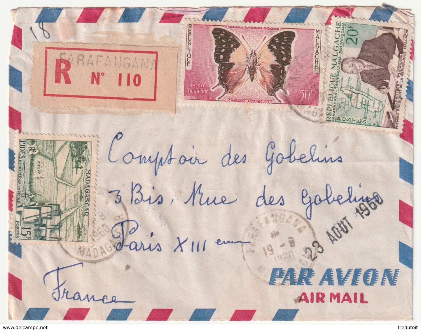 MADAGASCAR - LETTRE Recommandée : FARAFANGANA Le 19/08/1960 - Madagascar (1960-...)