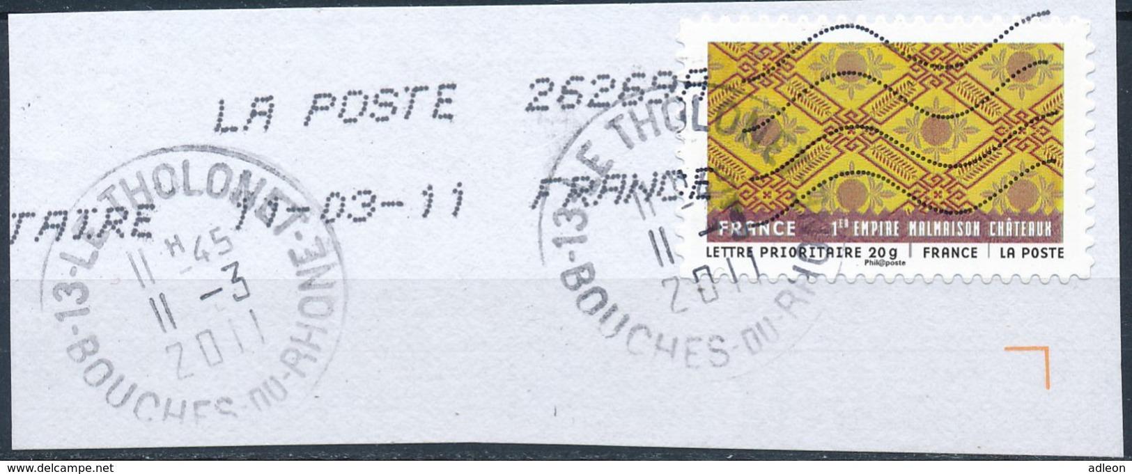 France - Tissus Du Monde - 1er Empire YT A523 Obl. Cachet Rond Manuel Et Empreinte Toshiba Sur Fragment - Adhésifs (autocollants)