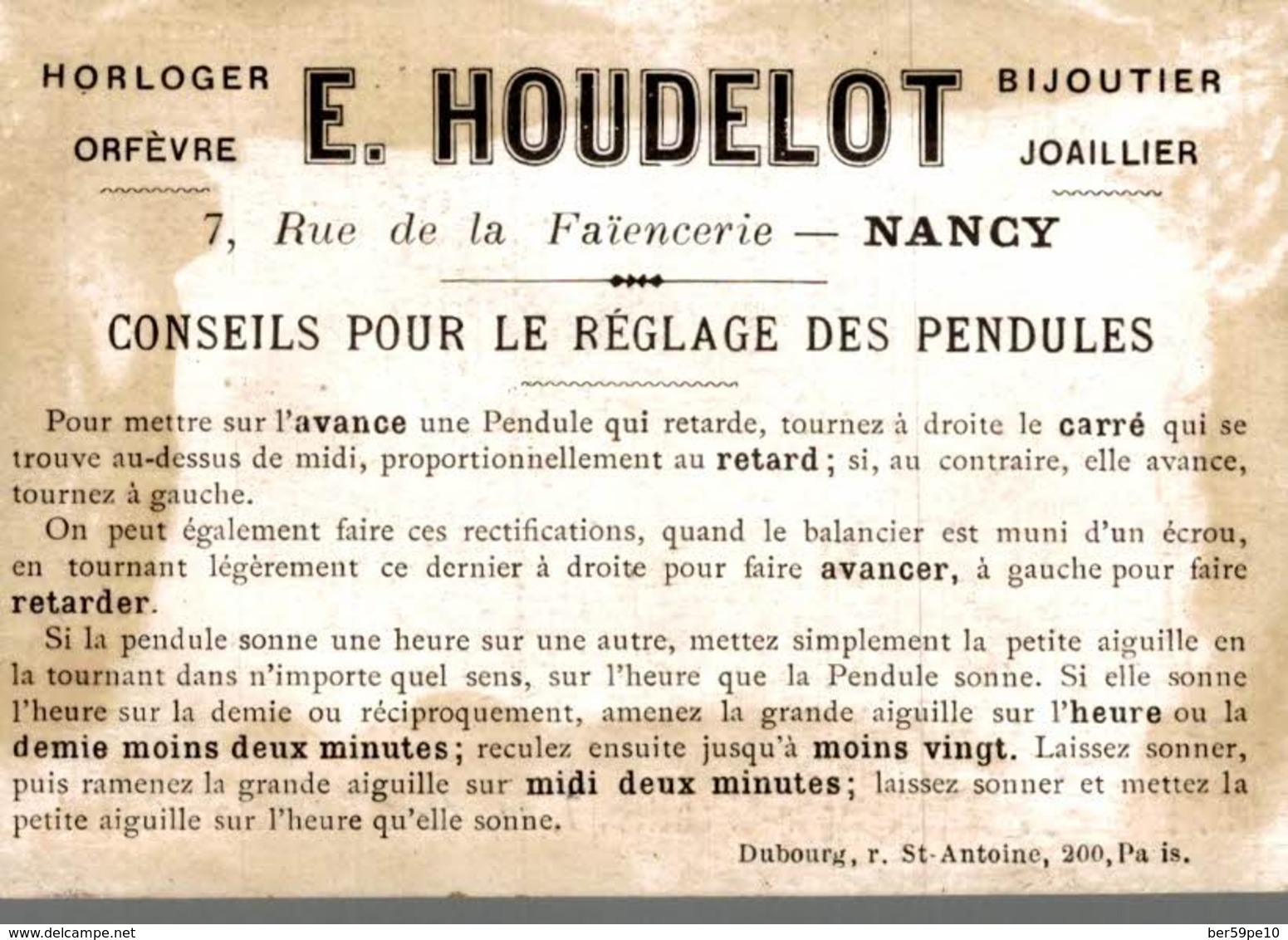 CHROMO  AU CHRONOGRAPHE E. HOUDELOT NANCY  LE CHATEAU A LA CAMPAGNE - Trade Cards
