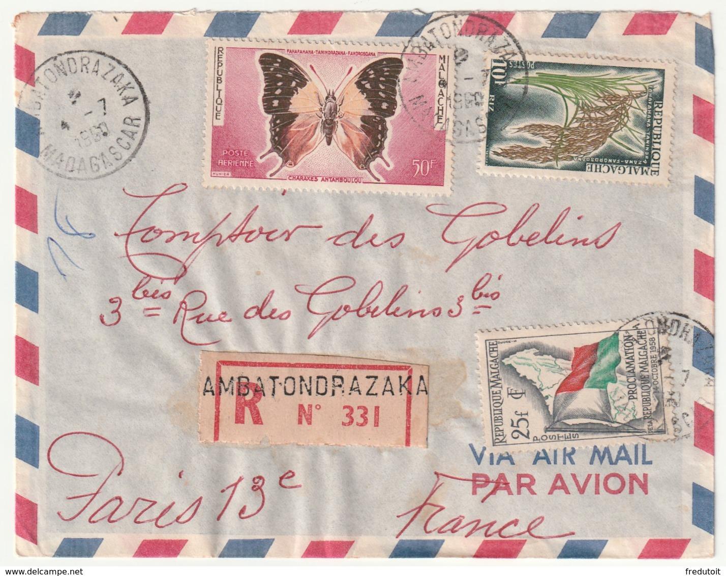 MADAGASCAR - LETTRE Recommandée : AMBATONDRAZAKA Le 04/07/1960 - Madagascar (1960-...)