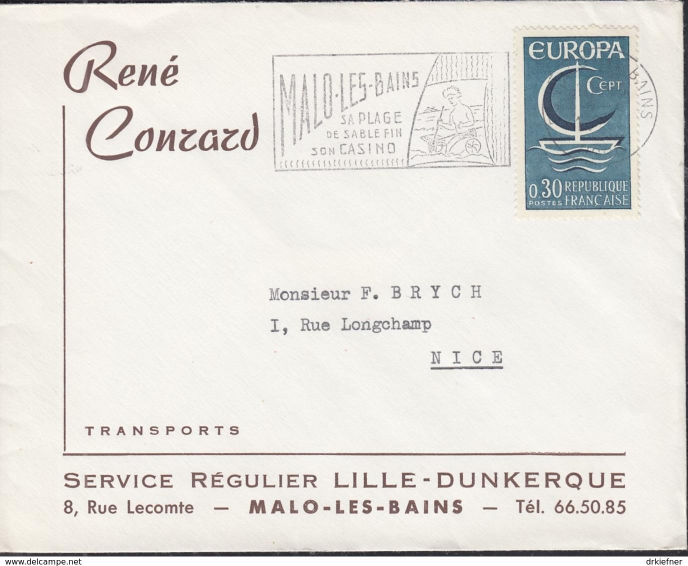 FRANKREICH 1556, Auf Brief Der Fa. René Conrad Mit Stempel: Malo Les Bains (1966), Europa CEPT 1966 - Frankreich