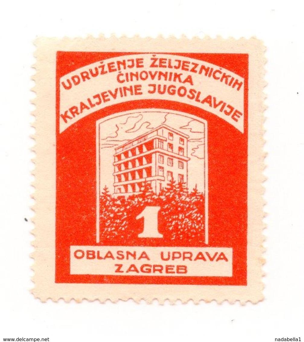 CROATIA, ZAGREB, POSTER STAMP, KINGDOM OF YUGOSLAVIA RAILWAY WORKERS ASSOCIATION - Croatia