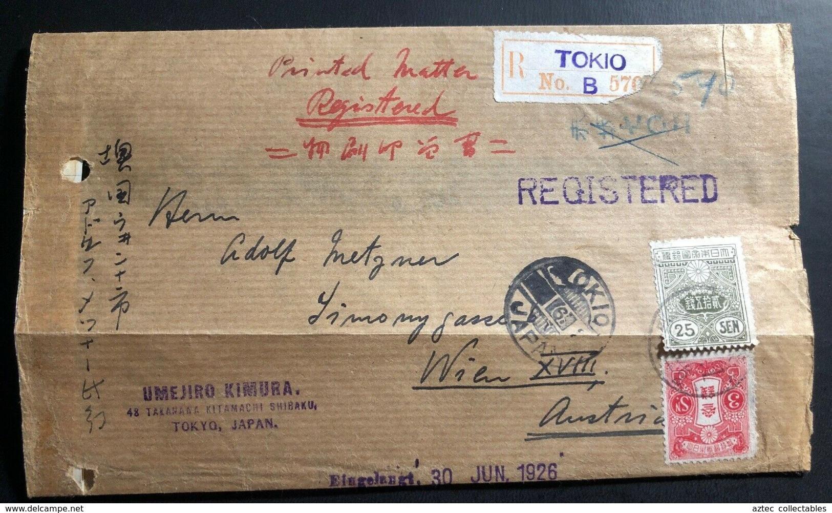 1926 Tokio Japan Wrapper Registered Cover To Vienna Austria - Japan